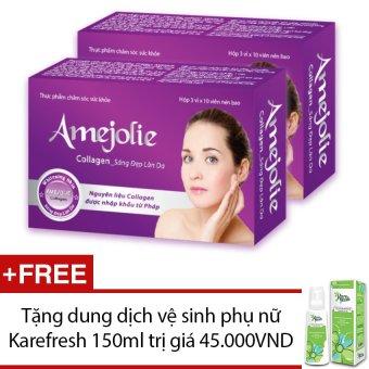 Bộ 2 hộp thực phẩm chức năng Amejolie Collagen 30 viên + Tặng 1 dung dịch vệ sinh phụ nữ Karefresh 150ml