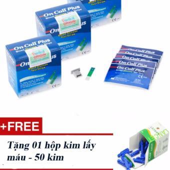 Bộ 2 hộp que thử đường huyết ACON ON-CALL Plus - Tặng 01 hộp kim lấy máu 50 kim