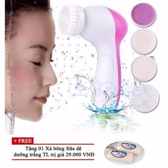 Máy rửa mặt và massage da 5 in 1 + Tặng 01 Xà bông dưỡng trắng TL