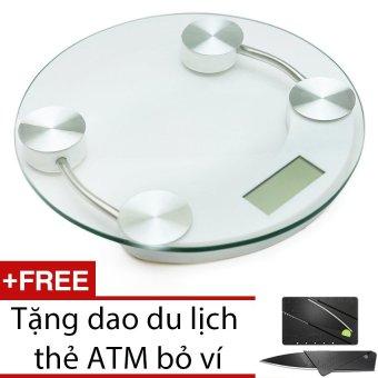 Cân điện tử mặt kính cường lực đường kính 26cm + Tặng dao du lịch thẻ ATM bỏ ví