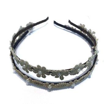 Bộ 2 Cài tóc Hoa cúc đính ngọc trai ren móc Trang sức Minh Ngọc