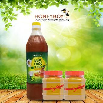 Mật ong Thô Honeyboy 1000ml Tặng kèm 2 hũ bột nghệ vàng nguyên chất 100g