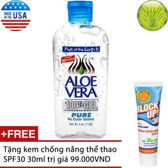 Gel dưỡng da Fruit of the Earth Aloe Vera 113g + Tặng kem chống nắng thể thao SPF30 30ml