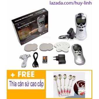 Máy massage xung điện trị liệu 4 miếng + Free thìa cán sứ cao cấp