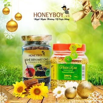 Phấn hoa thiên nhiên Honeyboy 100g và Nghệ đen mật ong Honeyboy 80g