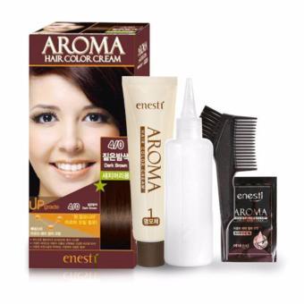 Thuốc nhuộm tóc Enesti Aroma Hair Color Cream màu nâu đậm 4/0 Hàn Quốc - Hàng chính hãng