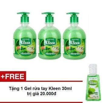 Bộ 3 Sữa rửa tay Kleen Trà xanh 500ml + Tặng 1 gel rửa tay Kleen 30ml
