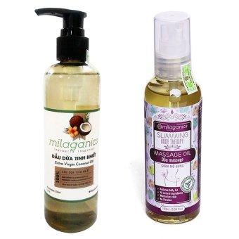 Bộ 1 dầu massage giảm mỡ bụng Milaganics 100ml và 1 dầu dừa tinh khiết Milaganics 250ml