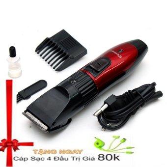Tông đơ cắt tóc KEMEI KM-730 (Đỏ phối đen) + Tặng dây sạc dút 4 đầu
