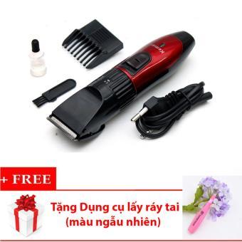 Tông đơ cắt tóc cho trẻ em KEMEI KM-730 (Đỏ phối đen) + Tặng bộ dụng cụ lấy ráy tai (màu ngẫu nhiên)