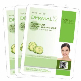 Bộ 3 x Mặt nạ dưỡng da tinh chất dưa leo Dermal Cucumber Collagen Essence Mask 23g