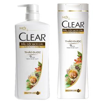 Bộ 2 dầu gội Clear thảo dược sạch gàu chai 650g & 180g