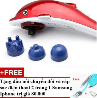 Máy massage lưng 3 đầu cầm tay cá heo + Tặng dây sạc chống xoắn điện thoại Samsung và Iphone 2 trong 1