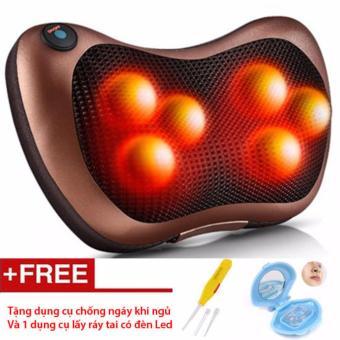 Gối masage hồng ngoại 6 bi đa năng (Nâu) - Tặng dụng cụ chống ngáy ngủ và lấy ráy tai có đèn