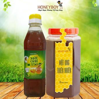 Bộ Mật Ong Thiên Nhiên Honeyboy 1kg Và Mật Ong Thô Honeyboy 400ml