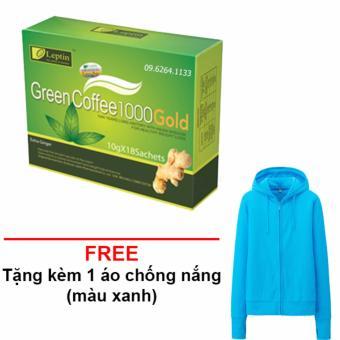 Hộp Trà Xanh Giảm Cân Leptin green coffee 1000 (chính hãng MỸ )+ Tặng 1 Áo Chống Nắng (HG)
