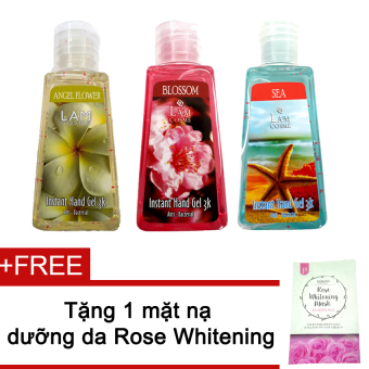 Bộ 3 gel rửa tay Lamcosme Angel 60ml (Flower, Blossom, Sea) + Tặng mặt nạ Rose Whitening Mask