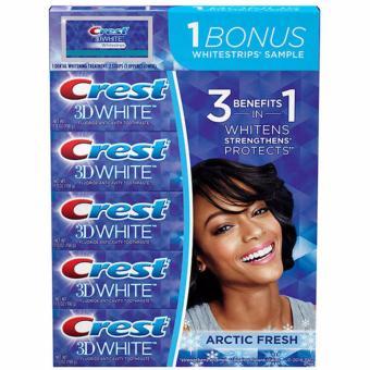 Lốc 5 hộp kem đánh răng Crest 3d White và miếng dán trắng răng Wowmart VN