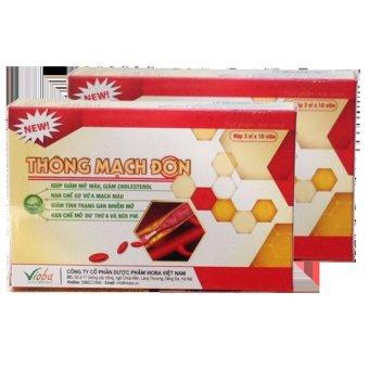 Bộ 2 hộp thực phẩm chức năng Vioba Thông Mạch Đơn hộp 3 vỉ x 10 viên (Đỏ)