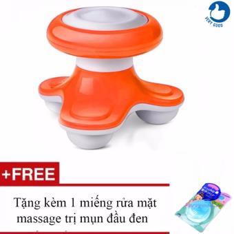 Máy mát-xa mini chân tròn Superlife Mini Massage + Tặng kèm 1 miếng rửa mặt massage trị mụn đầu đen