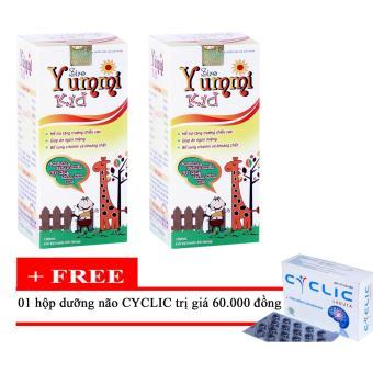 Bộ 2 chai Siro Canxi nano Yummi Kid Tặng 1 hộp dưỡng não Cyclic