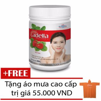 Collagen Vị Trái Cây Hương Dâu Adella Hũ 300G + Tặng Áo Mưa Adella