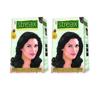 Bộ 2 hộp nhuộm tóc Streax Dark Brown (Đen tự nhiên)
