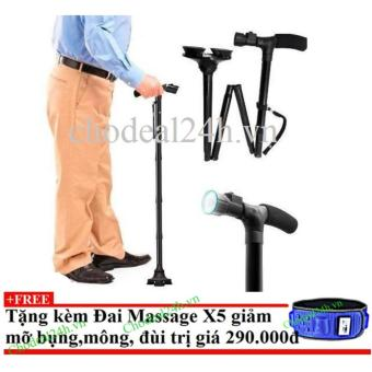 Gậy đa năng dành cho người già có đèn pin + Tặng đai massage x5 giảm mỡ