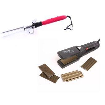 Bộ 1 máy bấm tóc 4 kiểu và 1 máy uốn tóc Setting Kim Phát (Đen và hồng)