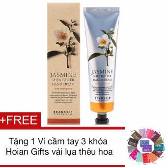 Kem dưỡng da tay từ hoa nhài Beauskin Jasmine Shea Butter Hand Cream 100ml + Tặng 1 Ví cầm tay 3 khóa Hoian Gifts vải lụa thêu hoa