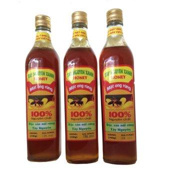 Bộ 3 chai Mật Ong Rừng Tây Nguyên Xanh 500ml (Vàng Nâu)