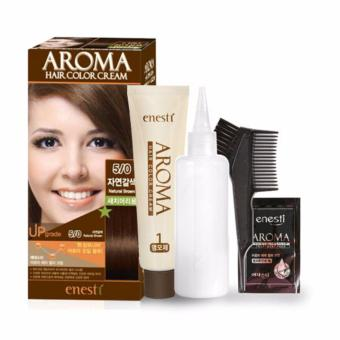 Thuốc nhuộm tóc Enesti Aroma Hair Color Cream màu nâu tự nhiên 5/0 Hàn Quốc - Hàng chính hãng