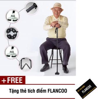 Gậy xếp gọn cho người lớn tuổi Flancoo 5151 (Đen) + Tặng kèm thẻ tích điểm Flancoo