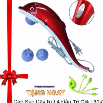 Máy mát-xa cầm tay cá heo 3 đầu (Đỏ) Tặng cáp sạc dây rút 4 đầu