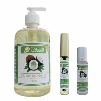 Bộ chai dầu dừa 500ml, Mascara dầu dừa và bi lăn dầu dừa 10ml