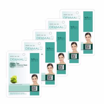 Bộ 5 x Mặt nạ dưỡng da tinh chất trà xanh Dermal Green Tea Collagen Essence Mask 23g
