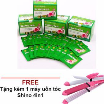 Bộ 4 hộp trà sen giảm cân SLIMUTEA + Tặng kèm 1 máy uốn tóc SHINON 4in1