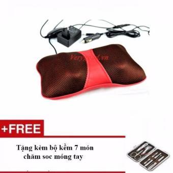 Gối massage hồng ngoại PL818 (đỏ) + Tặng bộ kềm 7 món chăm sóc móng tay