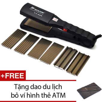 Máy là tóc dập xù đa năng + Tặng 1 dao du lịch bỏ ví hình thẻ ATM (xám)