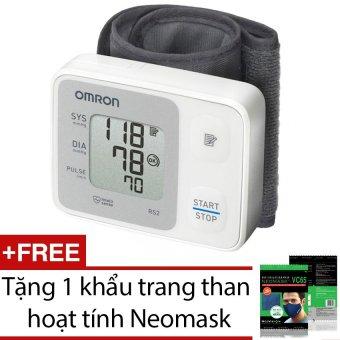 Máy đo huyết áp cổ tay Omron HEM-6121 (Trắng) + Tặng 1 khẩu trang than hoạt tính Neomask