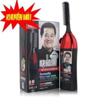 Bộ Lược chải nhuộm tóc thông minh thế hệ mới 1 nút bấm tiện dụng và thuốc nhuộm (đen)