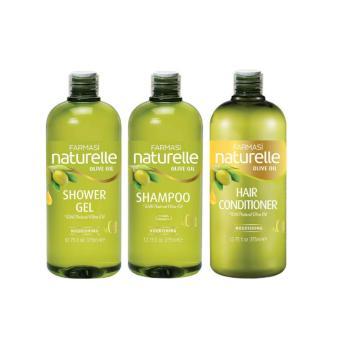Combo 3 sản phẩm Dầu Gội & Dầu Xả & Sữa Tắm Chiết Xuất Olive Farmasi Natural Olive Oil