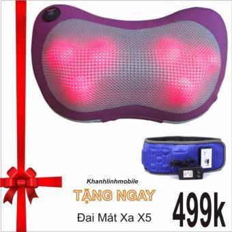 Gối mát-xa Massage Magic 6 bi hồng ngoại PL818 (Tím) + Tặng đai mát xa X5