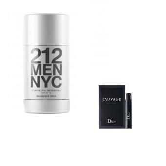 Lăn khử mùi Carolina Herrera 212 Men NYC 75 ml + Tặng 01 vỉ nước hoa nam Dior Sauvage EDT 1 ml