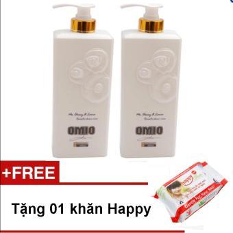 Bộ 2 chai sữa tắm OMIO 800ml (Trắng) + Tặng 01 gói khăn ướt Happyteen