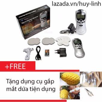 Máy massage xung điện trị liệu 4 miếng dán + Free dụng cụ gắp mắt dứa tiện dụng