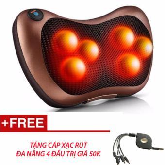 Gối Massage Magic pillow PL-819 6 bi hồng ngoại (Màu Nâu)+ Tặng cáp sạc 4 đầu