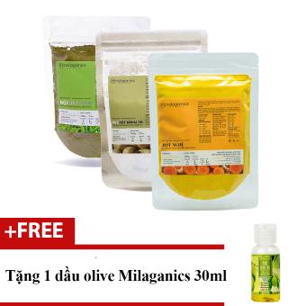 Bộ bột Trà xanh 100g + Bột khoai tây 100g và Bột nghệ Milaganics 100g + Tặng 1 dầu olive 30ml