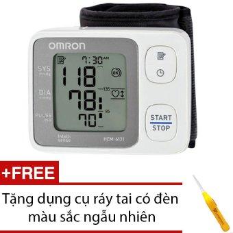 Máy đo huyết áp cổ tay Omron HEM-6131 + Tặng dụng cụ ráy tai có đèn