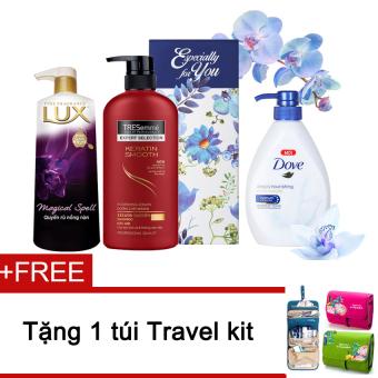 Bộ dầu gội Tresemme Vào nếp mềm mượt 650g + Sữa tắm Dove 530g + Sữatắm Lux hoa Magic Spell 530g + Tặng túi đa năng
